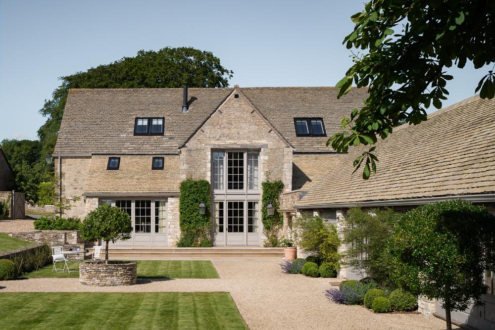 Farmhouse garden and home exterior