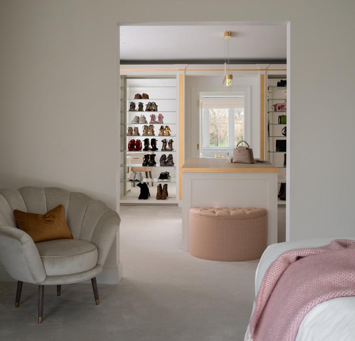 harriet hughes pink walk in wardrobe interior