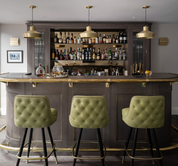 hhi design brown wooden bar with lime green seats