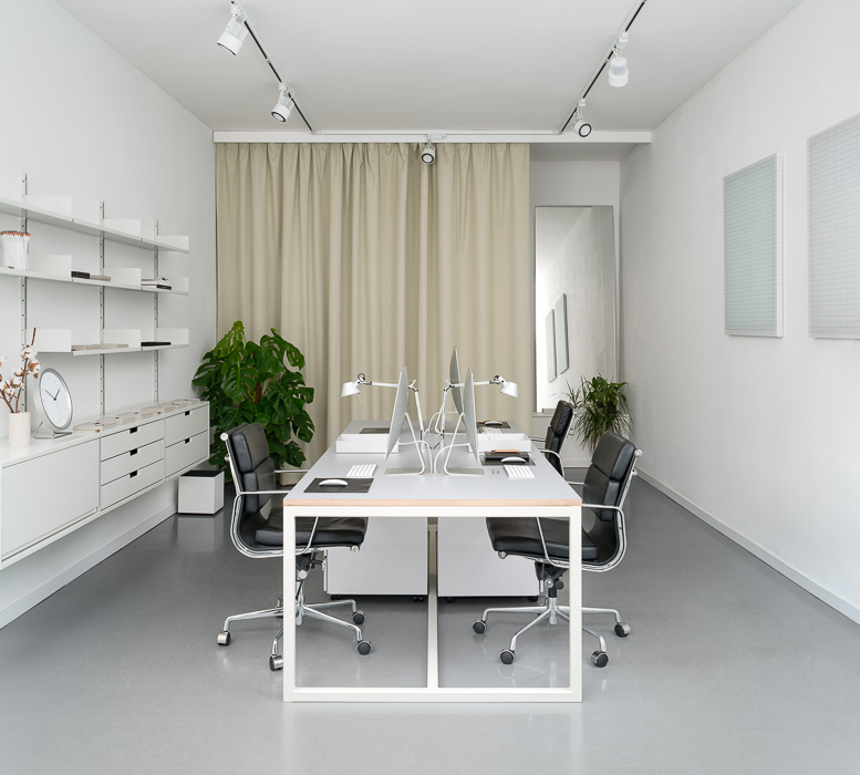 instrmnt white office interior photoshoot