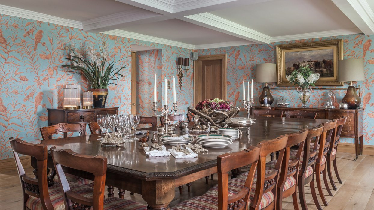 Laudale Estate Scotland Interior Photography Traditional Dining Room Nature Wallpaper