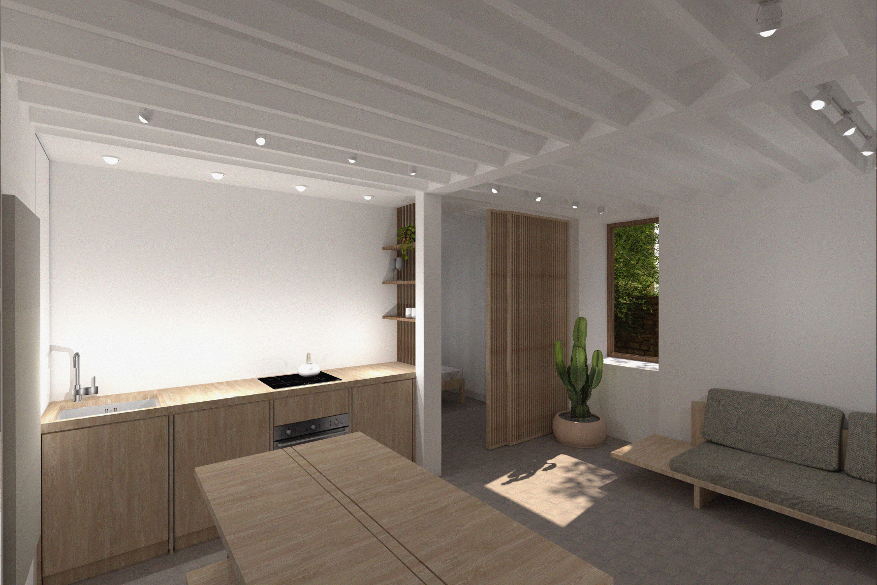 open plan wooden interior