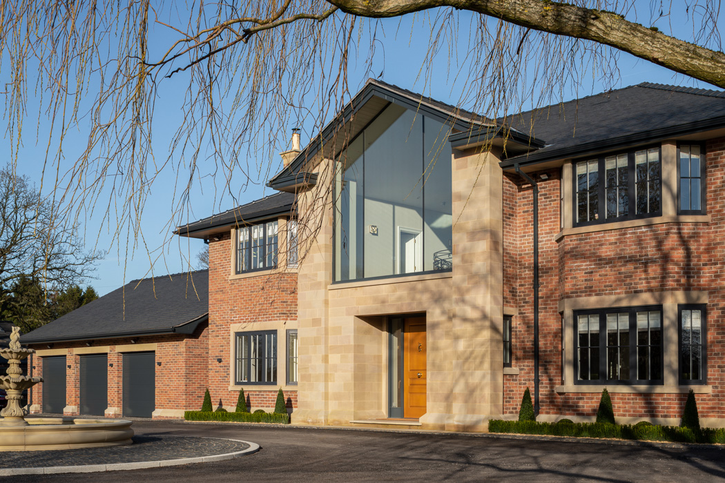 Architectrual photography featuring modern sandstone home