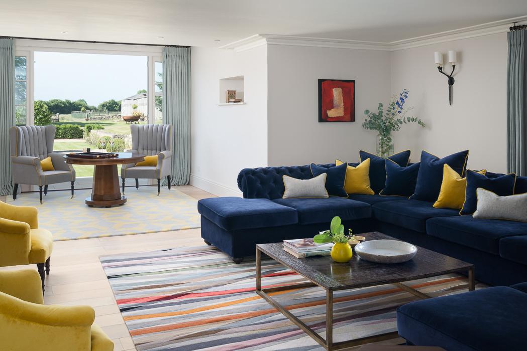 navy couch interior design