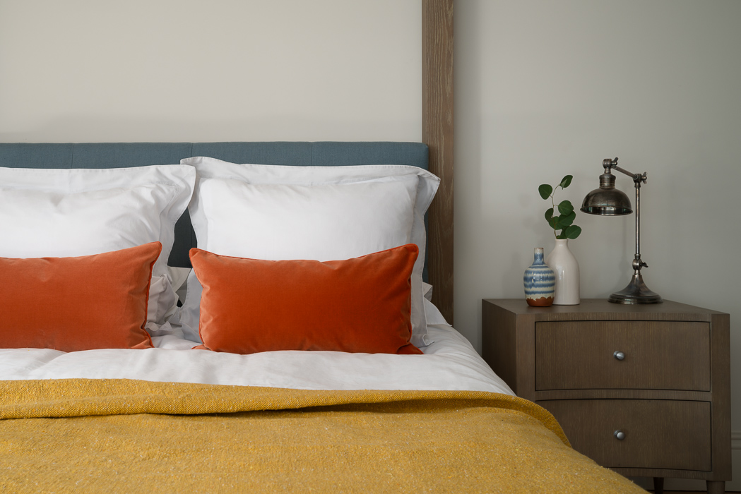 mustard and red bedroom interior