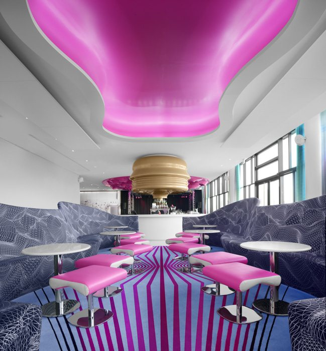 Hotel Hospitality Photography Pink Chairs Lights Patterns Modern Edinburgh Scotland