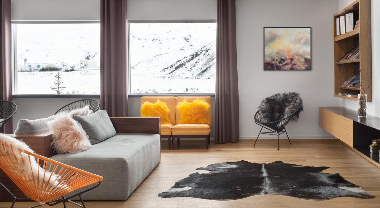 Ion Hotel Grey Sofa Orange Chair Interior Design Photography Zac and Zac Scotland