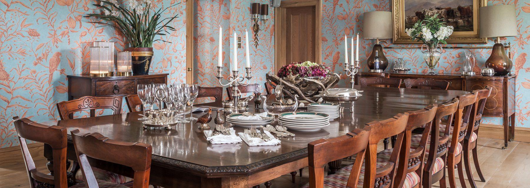 Laudale Estate Scotland Interior Design Dining Room Wooden Furniture Photograph