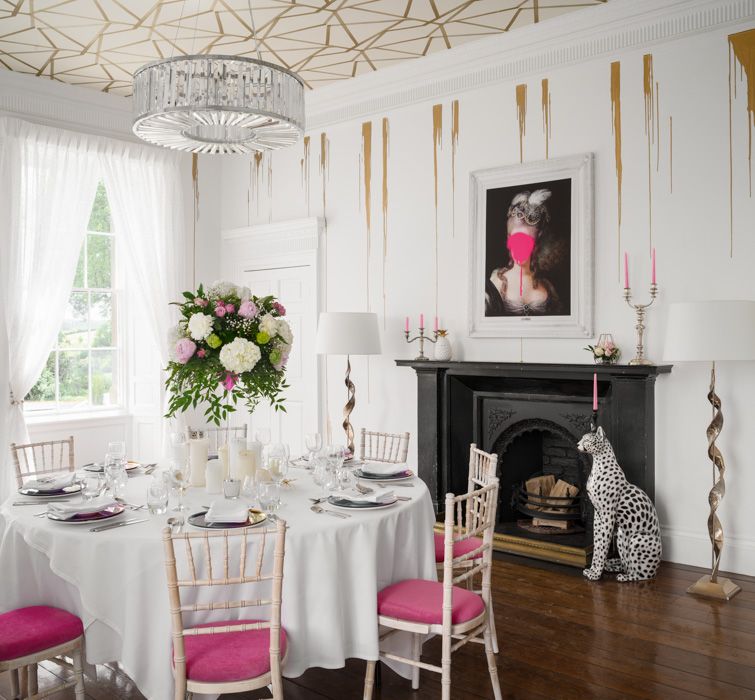 charlton hotel dinning room with pink chairs