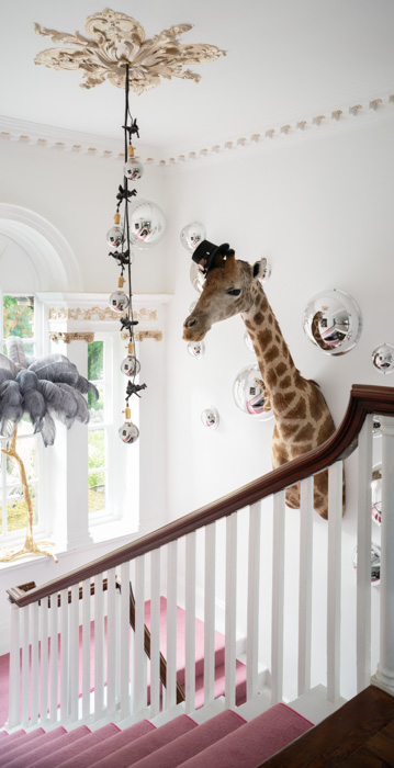 loud hallway interior with giraffe