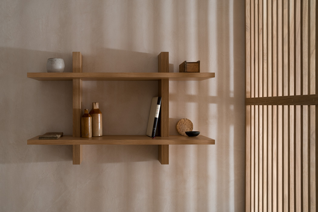 styled wooden shelving