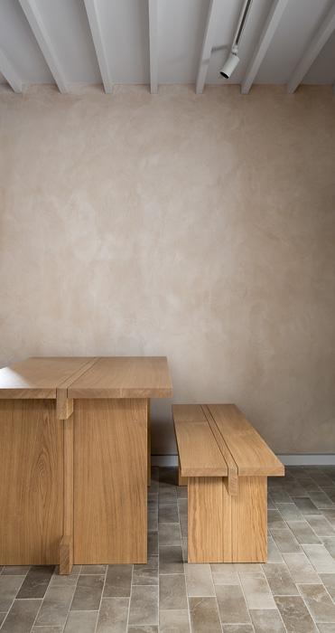 brown wooden bench in Porteous Studio