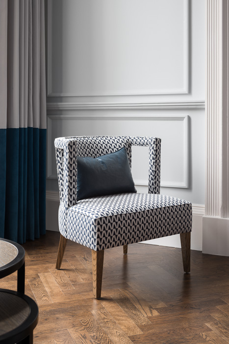 charlotte james navy and white patterned chair
