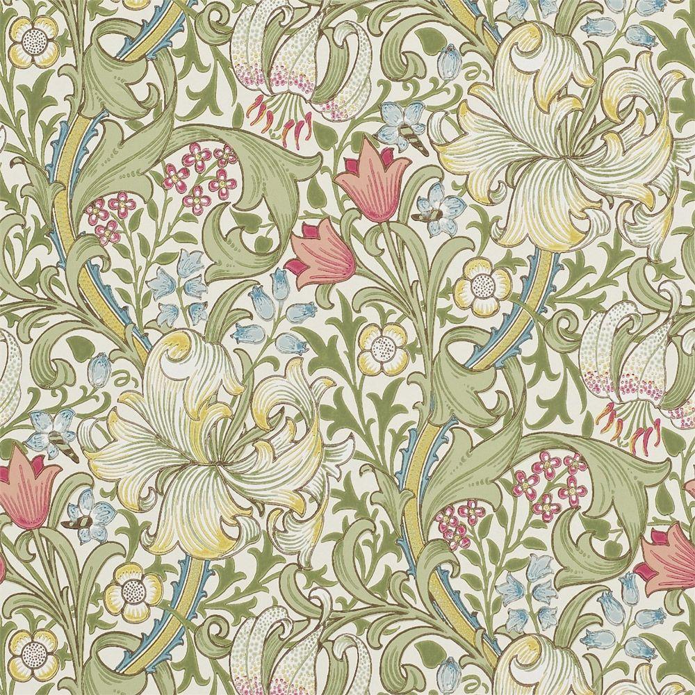 green flowered wallpaper design