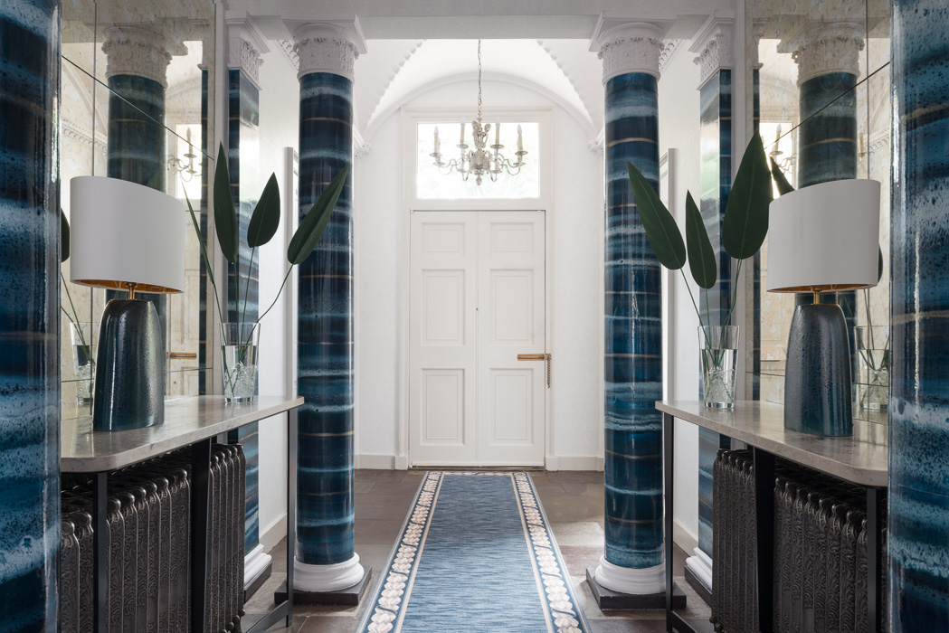 malcolm duffin design blue hallway decor
