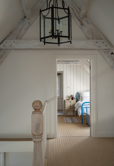 wooden angled ceiling