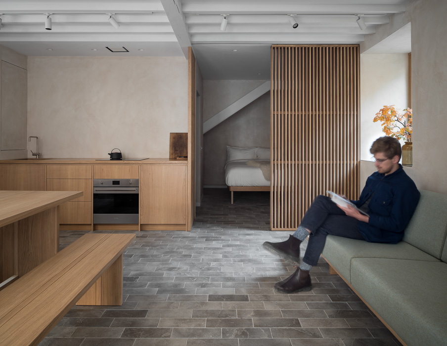 Commercial photography of wooden home with person