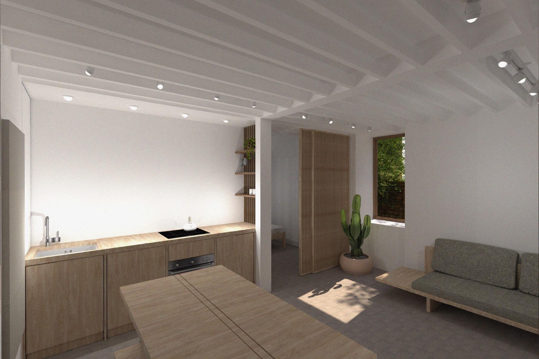 open plan wooden interior