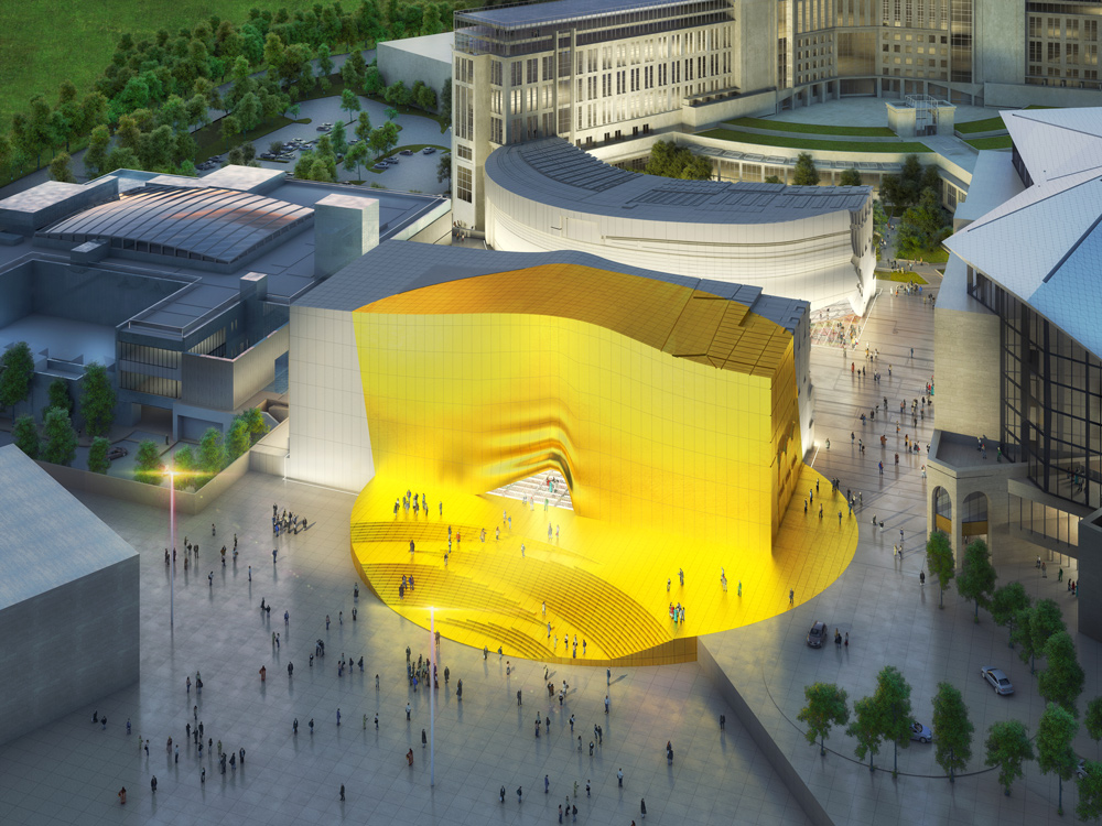 yellow architectural structure