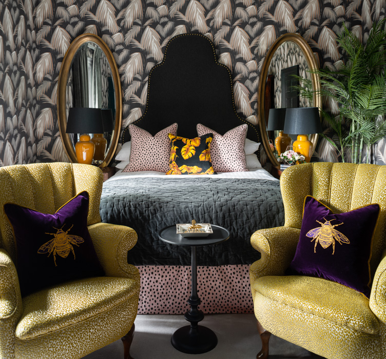 yellow charlton hotel london with purple bee cushions