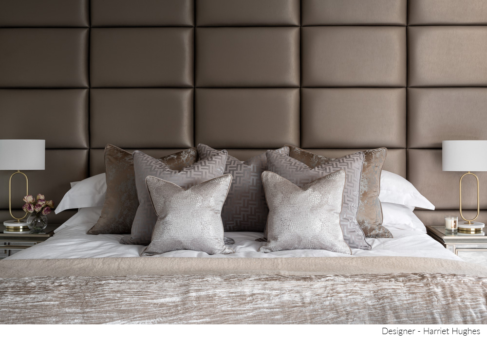 One point shot of beige bedroom design