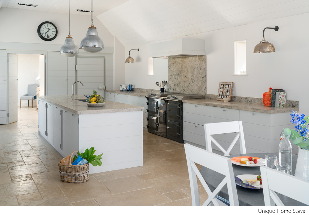 Interior design of white kitchen